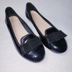 Cole Haan Patent Leather Flats Rhinestone Bow